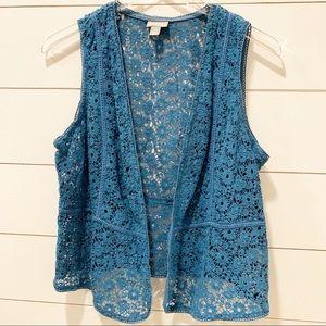 J.JILL Deep Teal Lace Vest
